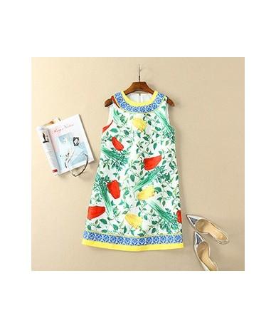 Women's Summer Runway Tank Mini Dress Fashion Vegetables Printed Jacquard Elegant Party Short Dresses Vestdios - Multi - 4G4...