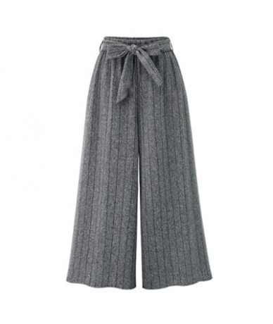 2019 Autumn European Style Women Wide Leg Pants Plus Size 4XL Ladies Vertical Striped Trousers Loose Bow Drawstring Capris -...