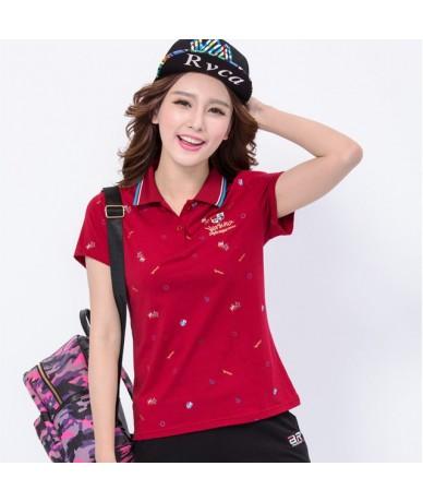 2017 summer women cotton short sleeve fashion print plus size turn down collar embroidery Polo shirt - purlish red - 4N39318...