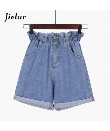 Summer Plus Size Casual Loose Denim Shorts Elastic Buds Wide Leg Jeans Short Women Korean Solid Color Streetwear Spodenki - ...