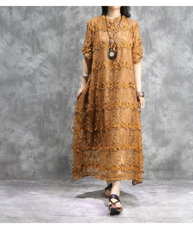 New Style Casual Original Women Dress 2019 Spring Summer Solid Color Lantern Sleeve Loose Cotton Female Dress - Yellow - 4O4...