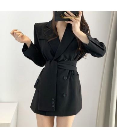 Elegant Sash Belt Women Blazer Dress Autumn Notch-neck Office Ladies Blazer Dress Streetwear Long Jackets Female Short Vesti...