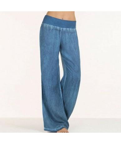 2019 Women High Waist Pants & Capris Wide Leg Pants Sports Loose Long Pants Solid Color Casual Denim Trousers Plus Size M-5X...