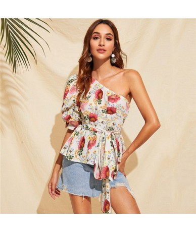 One Shoulder Puff Sleeve Belted Floral Blouse Women Clothing Boho Half Sleeve Summer Blouse Ruffle Hem Vacation Ladies Top -...