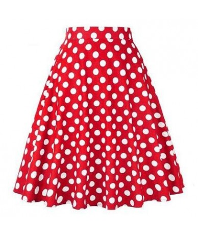 Cherry Printed 1950s Rockabilly Pleated Skirt High Waist Retro Vintage Summer Casual 50s 60s Big Swing Plus Size Skirts Skat...