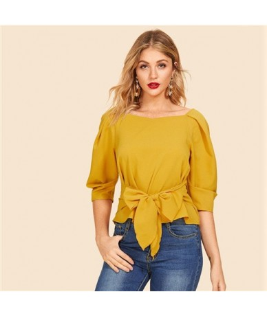 Ginger Fold Pleat Sleeve Tie Waist Belted Three Quarter Length Sleeve Boat Neck Top Women 2019 Spring Tops and Blouses - Gol...