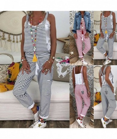 Fashion New Women Dungarees Harem Strap Sling DIY Bandage cross Pant Loose Casual Jumpsuit Baggy Striped Trousers Overalls -...