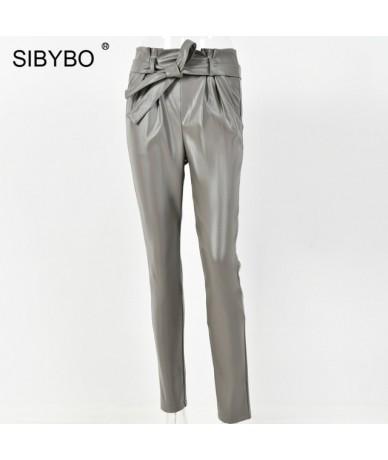High Waist PU Leather Casual Pants Women Autumn Fashion Drawstring Pencil Pants Ladies Pockets Streetwear Women Trousers - A...