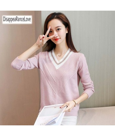 Autumn Winter Female Pullovers V Neck 2019 New Casual Long Sleeve Fashion Sweet Loose Sweater For Women Warm Knitted Jumper ...