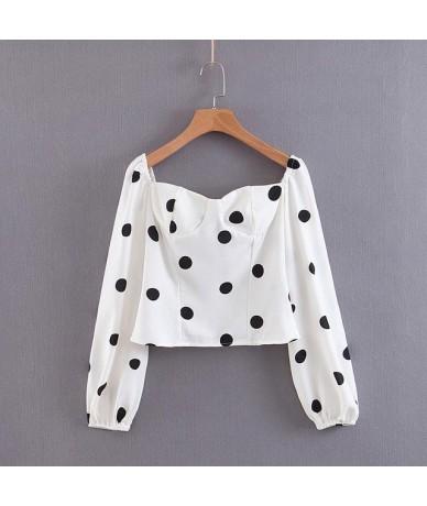 CS897 Spring Summer Classic Big Dot Print Long Sleeve Slim Shirts White Color Long Sleeve Crop Tops Blouse - as photo - 4C41...