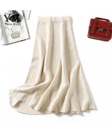 2019 Autumn Winter Fashion Women Elastic High Waist Pleated Skirt Knit A Line Long Skirt Elegant Ladies Festival Skirt - Bei...