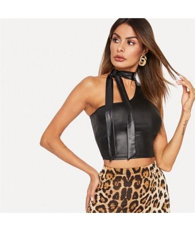 Black Asymmetrical Tie Neck Solid Crop Tank Top Summer Women Sexy One shoulder Skinny Highstreet Sleeveless Tops - Black - 4...
