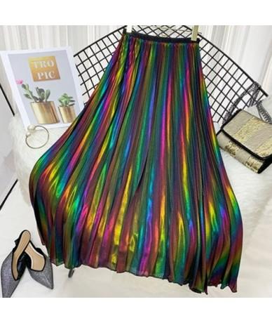 Colorful Gradient Long Chiffon Pleated Skirt Women Fashion 2019 Summer Ladies Print A-line High Waist Sun Skirt Female - Bla...