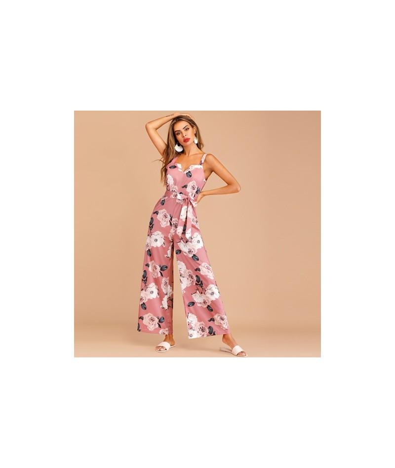 Boho Floral Print Zip Back Belted Summer Jumpsuit Women Sleeveless Loose High Waist Wide Leg Jumpsuit Ladies Pink Jumpsuit -...