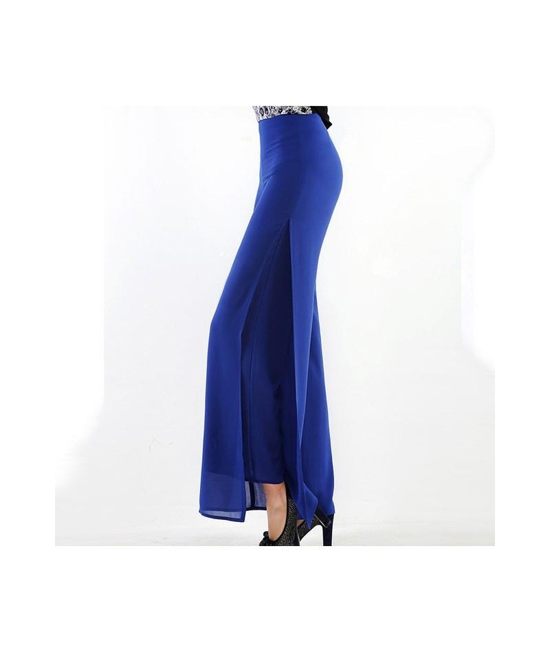 Hot Sale Ladies Baggy Pants Summer Casual Pants Womens Wide Leg Fashion High Waist Side Split Black White Chiffon Pants Big ...