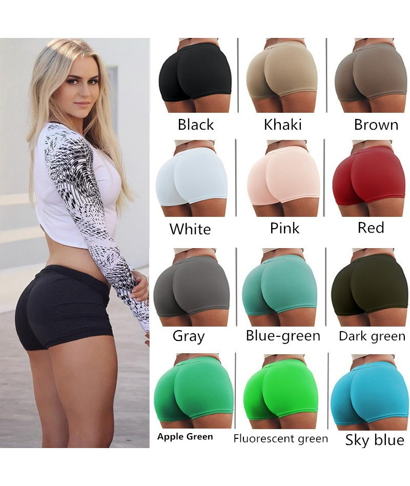 new fashion women short pants casual elastic skinny shorts 2018 female solid color fitness sport push up short pant 20 color...