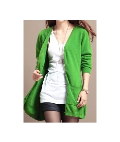 Spring Autumn Winter Cashmere Cardigan Female Medium-Long Wool Sweater Loose Long-sleeve Plus Size Wild Solid Warm Slim - Gr...