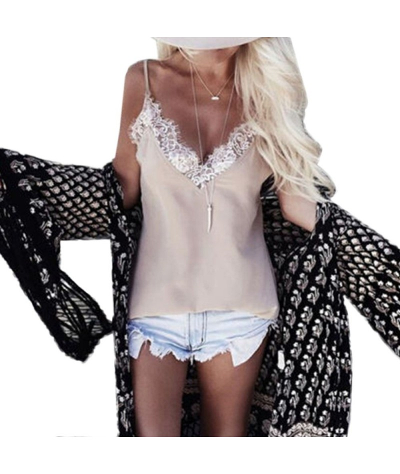 Women Ladies Vest Sleeveless Shirts Lace Summer Casual Loose Tops Spaghetti Strap Camis - 453922987173