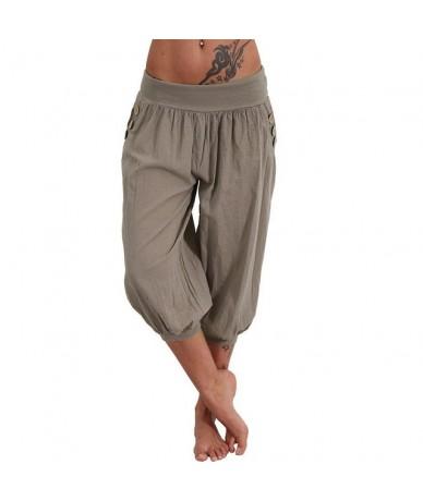 Mention women Leisure Elastic Linen Side Pockets Women Cropped Pants Summer Loose Trousers - Grey - 473029072418-5