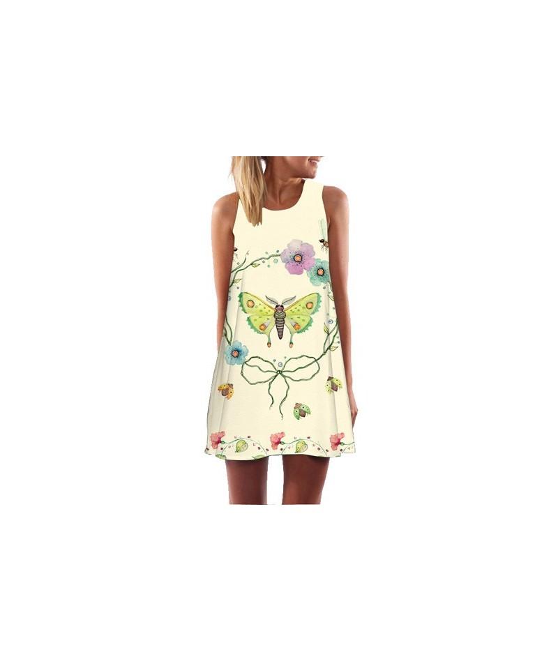 Flamingo Print White Chiffon Dress Women Fashion Sleeveless Casual Summer Dress Ladies Mini Cute Party Dress Vestidos - 222 ...