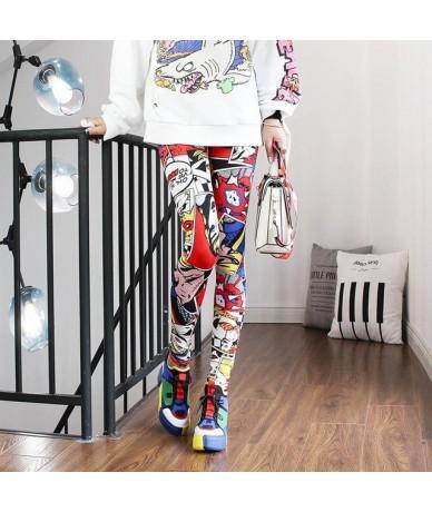 2019 Women Leggings High Waist Cartoon Comic Beauty Print Trousers Soft - 2 - 4V4157739043-2