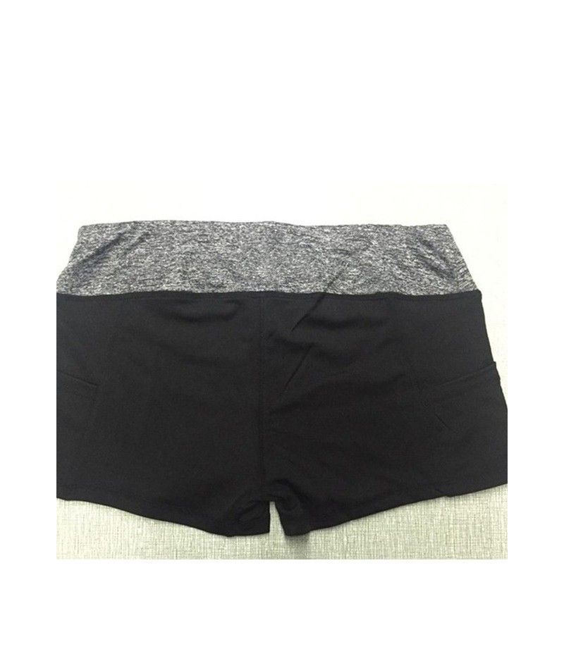 Women's Shorts Summer Elastic Waist Sporting Shorts Casual Printed Quick Dry Shorts For Female Fitness Short Pants - black g...