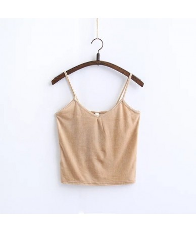 Camisole 2019 Summer Fashion Casual Ladies Vest Camis Female Blusa Cropped Tops Slim Thin Sexy Velvet Women Short Tank Top -...