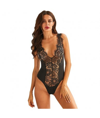 Sexy Floral Lace Splicing Deep V Neck Sleeveless Woman's Bodysuit Black/White Summer Female Hollow Out Body Top Clothes - Bl...