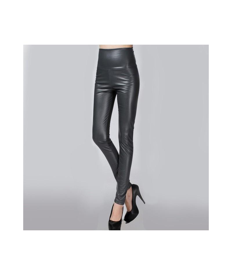 High Waist Leather Faux PU Women's Pencil Pants Harajuku Leggings Black Fleece Trousers for Women 2019 Spring Warm White Clo...