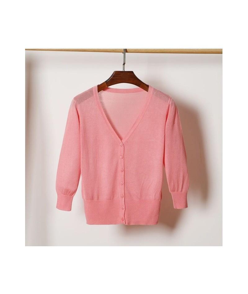 Summer Female Knit Thin Cardigan Sweater Coat Short Female Knitted Jacket Women - shrimp pink - 493902717536-15
