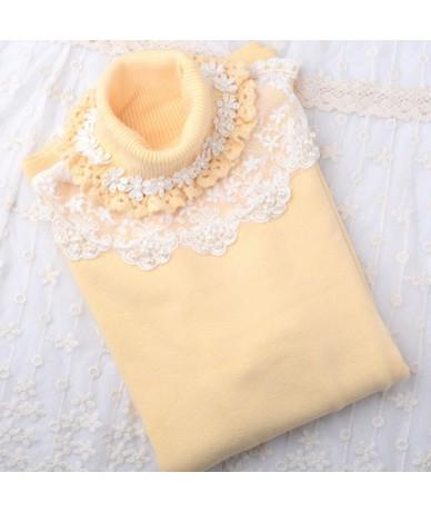 Fashion Lace Turtleneck Sweater Female Winter Warm Pullover Sweater Knit Slim Cute Girl Elasticity Knitwear Jumper Sweater T...