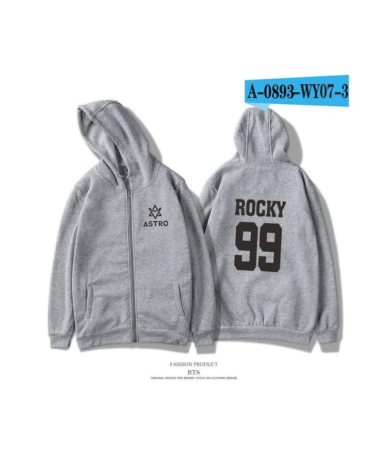Kpop ASTRO Fashion Hoodies Women K-pop Group Spring Sweatshirt Men/Women Zipper Harajuku Casual Hoodie Plus Size - grey - 4L...