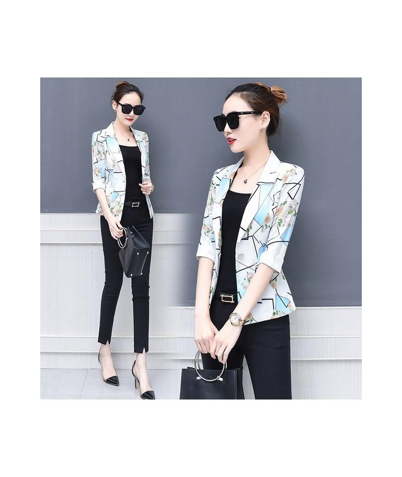 2018 Summer New Arrival Women Blazers Print 3/4 Sleeve Single Button Korean Style Slim Plus Size 4XL short Coat Hot C84013X ...