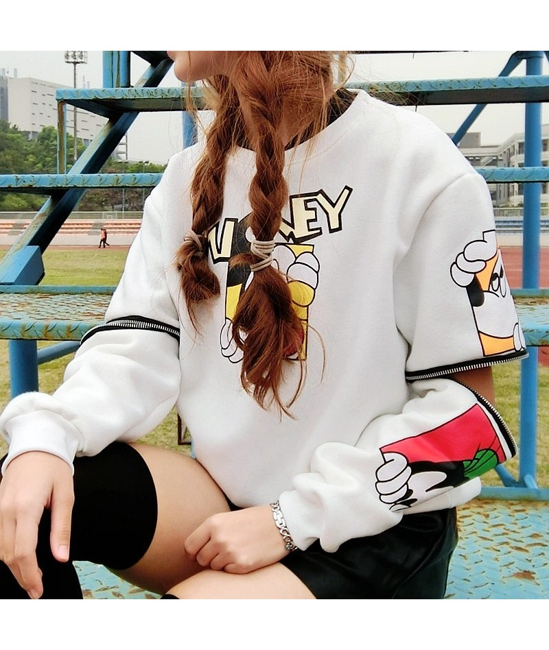 Kawaii Women Pullover Anime Mouse Zipper removable Hoodies Female Loose Sweatshirt Hoody Funny Clothing White/Black - black ...
