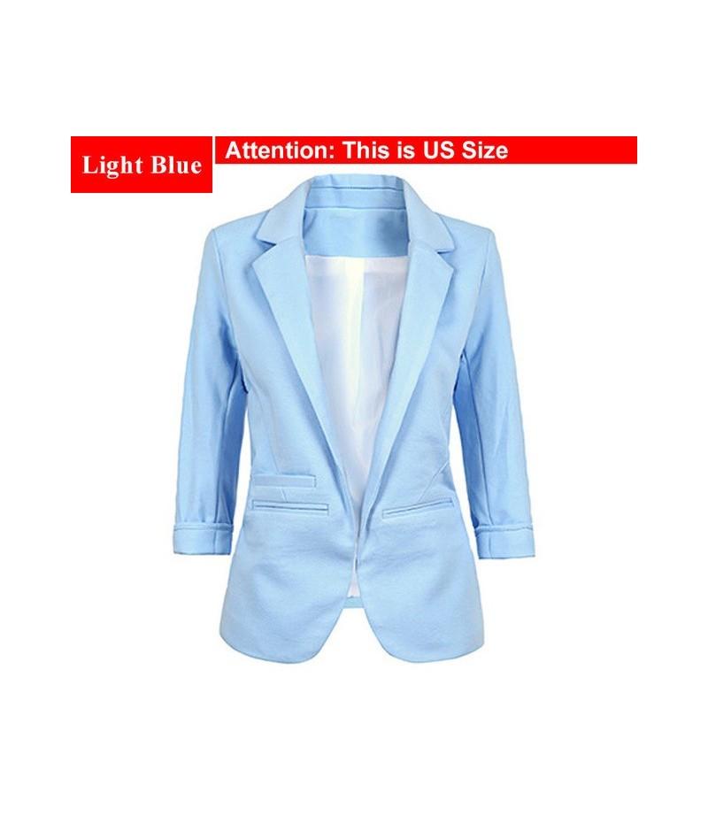 Ladies Plus Size Yellow Blazer Feminino Formal Jacket Women'S White Blazer Female Blue Women Suit Office Ladies 2018 - Light...