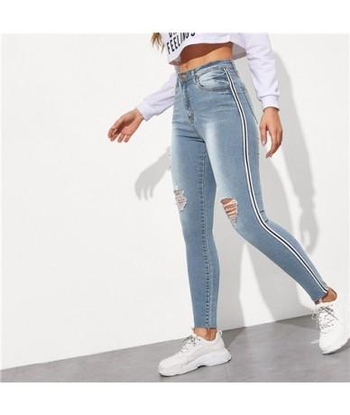 Stripe Side Ripped Skinny Jeans Leisure Stretchy Long Denim Pants 2019 Spring Women Streetwear Casual Blue Jeans - blue - 4S...