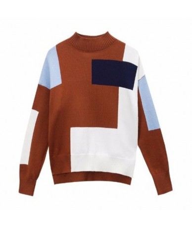 Women Pullovers O-Neck Long Sleeve Stitching Color Clothes Sweaters Female Jumper Streetwear Loose Knitted Tops Black White ...