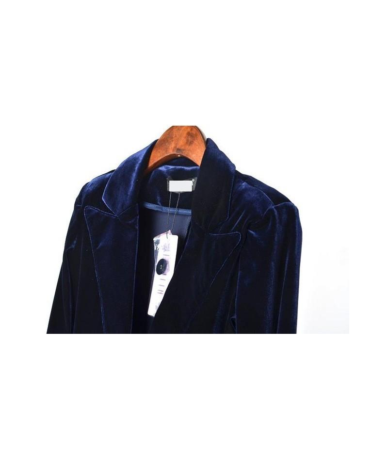 New Fashion Women's Gold velvet blazer Casual Coat Jacket Button Woman Suit Slim Female - Blue - 4G3901312044-1