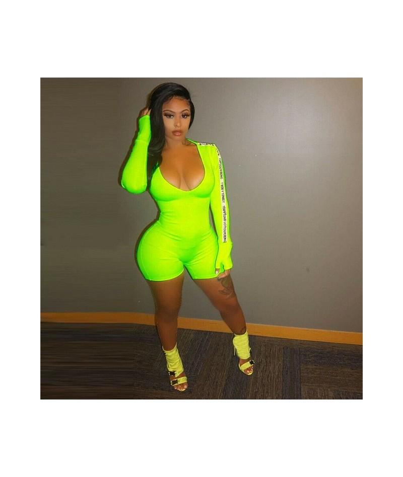 Women Lady U Neck Slim Jumpsuits Clubwear Playsuit Autumn Long Sleeve Solid Bodycon Party Jumpsuit Shorts Romper Woman Jumps...