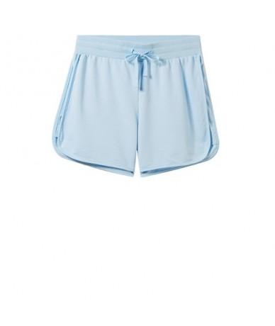 Women Shorts Women Elastic Waist Drawstring Smooth Fabric Casual Summer Shorts Women Banded Cuffs Pocket Short Femme - 13Blu...