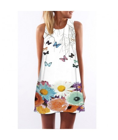 Summer Dress 2018 New Style Digital Printing Casual Dress Women Sleeveless Short Boho Style Mini Beach Dress Vestidos - Blu...
