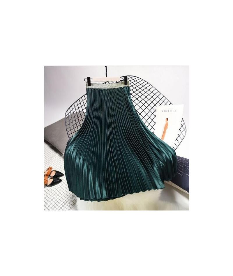 2018 Winter Women Elegant Pleated Skirt Elastic Waist Women Long Skirt Female Autumn Ladies High Quality Midi Skirt Saia - d...