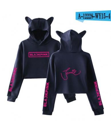 luckfridayf Blackpink Cat Ear Cropped Top Hoodies sweatshirts Black pink kpop Sexy Crop Top Women Sexy hit hot Harajuku clot...