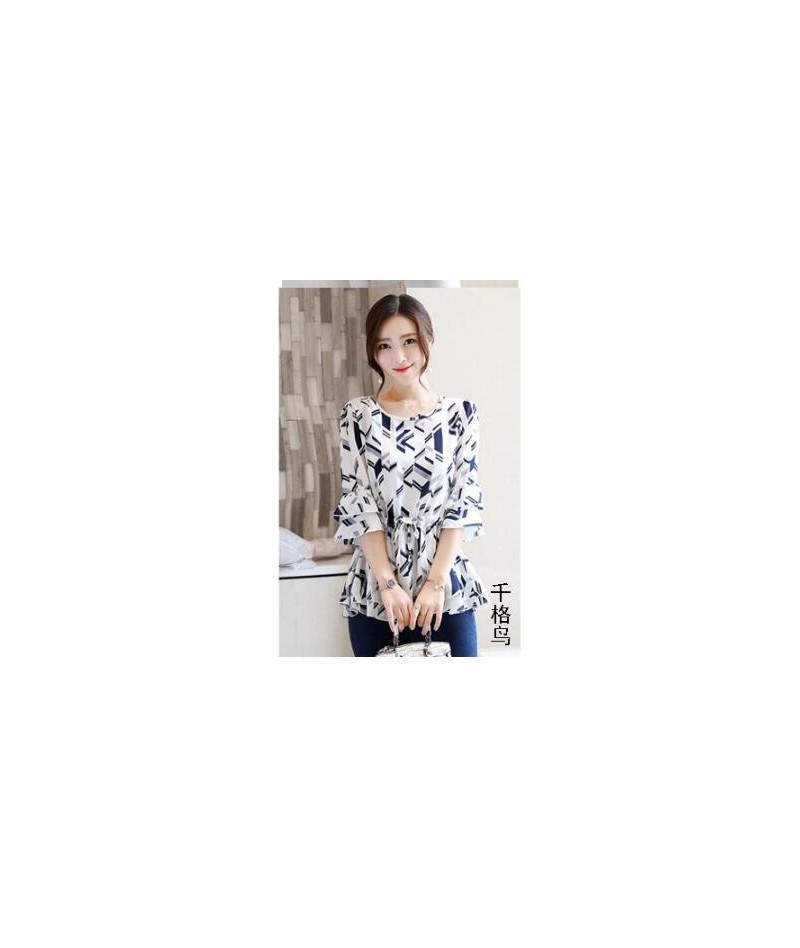 Peplum Tunic Tops Women Summer 2019 Flare Sleeve Slim Waist A Line Belly Design Floral Printd Chiffon Blouse Shirt Pink Yell...