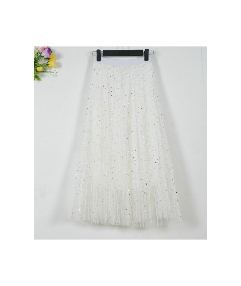 Women Casual Lace Pleated Skirts New 2019 Spring Summer Female Chiffon High Waist Black Stars Sweet Pleated long Skirt - whi...