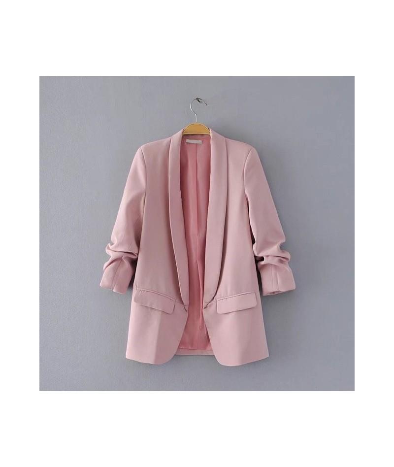 2018 women casual new black folded sleeve office ladies blazer business jacket polka dot print female jacket - Pink - 4M3933...