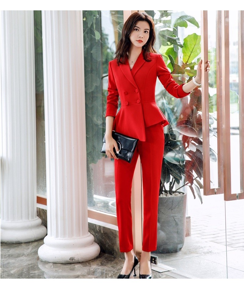 Novelty Office Ladies Red Blazer Women Business Suits with Pant and Jacket Sets Work Wear Clothes Pantsuits - Red - 4N414370...