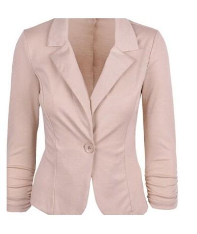 Hot selling Womens Blazer Jacket Long Sleeve Candy Button - Beige - 4C3757417124-1