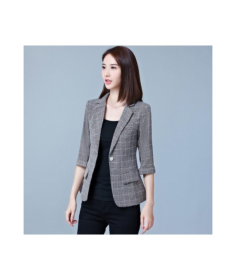 Short Blazers Women Plaid Three Quarter Business Suits All-match Female Jackets Fashion Slim Blazer Suit 2018 Summer Feminin...