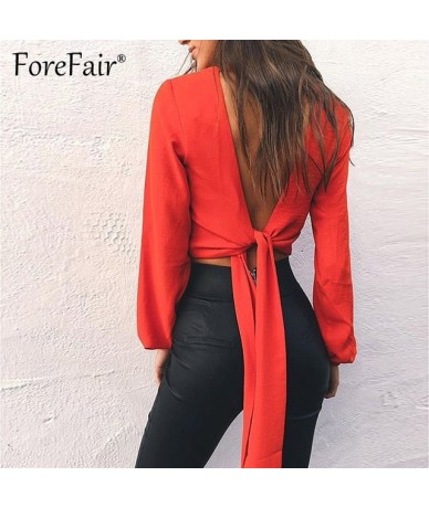Backless V Neck White Sexy Blouse Women Summer Wrap Shirt Long Sleeve Chiffon Womens Tops and Blouses - red - 464120751041-2